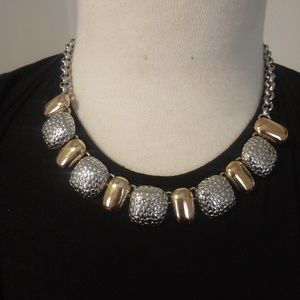 Jewelry - Two Tone Textured Necklace Gold and Silver